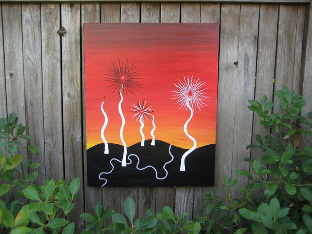Fireworks Black White Red Series Acrylic on canvas 1996